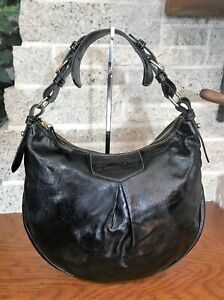 DOONEY & BOURKE LUISA BLACK PATENT LEATHER HOBO HANDBAG PURSE SHOULDER BAG