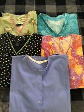 Lot Of 4 Medium Womans Scrub Tops , 1 Long Sleeve Jacket