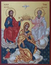 Holy Trinity Hand painted Eastern Orthodox Byzantine icon 22k gold