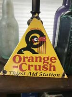 "ORANGE CRUSH PORCELAIN GAS STATION DOOR SIGN ""THIRST AID STATION"""