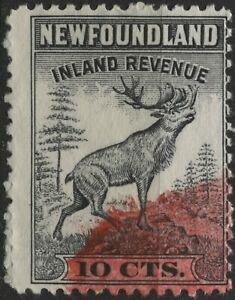Canada VanDam #NFR37 10c black perf 12 Nfld. Inland Revenue Stamp used  (1942)