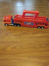Vintage 1986 Hot Wheels Semi Truck Trailer Car Hauler-Rare Red