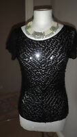 Beautiful NAM of LONDON Black Sequinned Crochet Top Size S - M / UK 10 - 12