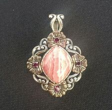 CAROLYN POLLACK CP NECKLACE STERLING RHODOCHROSITE BRASS COPPER HUGE PENDANT
