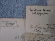 Rare Letter on Letterhead from the Kauffman House Hotel in Oakley, Kansas, 1906!