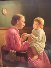 Mother and child original oil on canvas. By M. Moshall