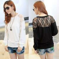 Women Sexy Batwing Long Sleeve Dolman Lace Splice Loose T-Shirt Blouse Tops 35DI
