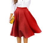 Womens Stretch High Waist Skater Flared Pleated Swing Long Skirt Dress New.