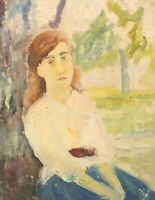 ANTIQUE OIL PAINTING IMPRESSIONIST WOMAN PORTRAIT