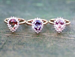 Color Change Alexandrite Diaspore Morganite Engagement Ring 14k Rose Gold Vermei