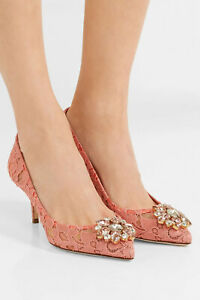 DOLCE & GABBANA Crystal-embellished corded lace pumps, Pink, New, Ori$895!!!