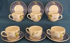 WEDGWOOD SARAH'S GARDEN CUPS & SAUCERS BOTANICAL BUTTERFLIES NEW UNUSED LABELS