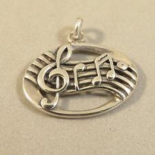 .925 Sterling Silver Treble Clef/Notes SHEET MUSIC CHARM Pendant NEW 925 MC42