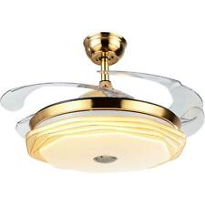 Bluetooth Remote Gold Invisible Crystal Ceiling Fan Lamp LED Chandelier Fixture