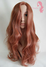 W34 Light Auburn Ginger Mix Long Wavy Wig Synthetic Natural Look Skin Top