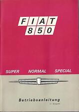 FIAT 850 SUPER normale speciale manuale di istruzioni 1968 manuale bordo libro BA