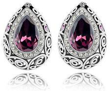 Luxury Vintage Silver Purple Water Drop Earrings Studs E635
