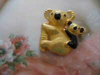 VINTAGE KOALA WITH BABY GOLD BROOCH PIN BLACK ENAMEL and RHINESTONES