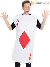 Adults Playing Card Costume Mens Ladies Wonderland Casino Fancy Dress Outfit