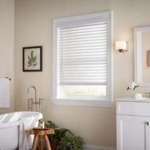 White Cordless Room Darkening 2 in Faux Wood Blind Window 64.5 in W x 54 in L