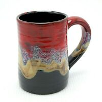 "Studio Pottery Drip Glaze Tankard Beer Mug 17 oz Red Blue Black Tan 5"" Ceramic"