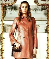 Emilio Pucci Python Snakeskin Brown Leather Dress Jacket Coat US 8 10 / IT 44