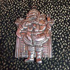 Flat Silver Tone Metal Santa Claus Christmas Ornament - R&B