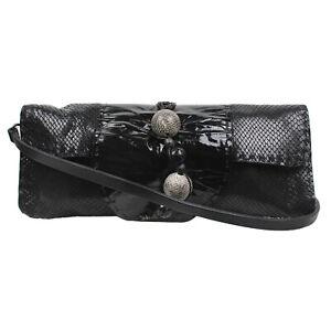 Henry Beguelin Handcrafted Black Lizard Leather Shoulder Bag