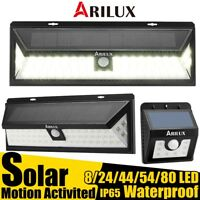 ARILUX SOLAR POWER LED LIGHT MOTION PIR SENSOR OUTDOOR GARDEN SECURITY WALL LAMP