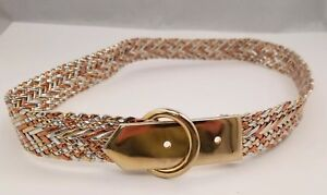 "Chain Style Womens Belt Silver Copper Tone Metal Buckle Chic Elegant 34""x1.25"""