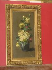 Bouquet De Fleurs, Peinture à l'Huile Sur Bois époque 20ème.