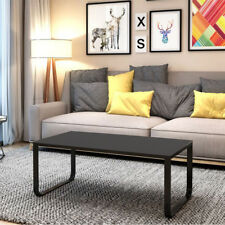 Glass Coffee Table with Metal Frame Living Room Furniture Black 105 x 55 x 42 cm