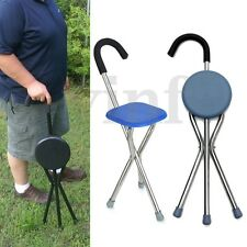 Lightweight Folding Tripod Cane Hiking Chair Portable Walking Stick Seat Elderly