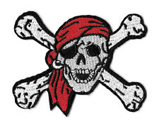 Skull & Crossbones Embroidered Iron On Patch - Punk - Pirate - Biker