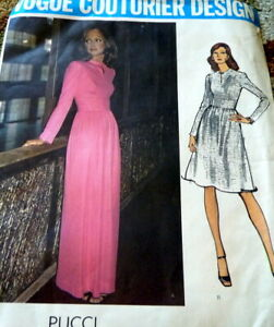 LOVELY VTG 1970s DRESS VOGUE COUTURIER DESIGN PUCCI Sewing Pattern 12/34 FF