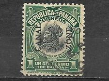 Canal Zone On Panama 1909 Stamp Used 1 Centavos Vasco Nunez De Balboa