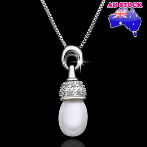 Wholesale 18K White Gold Filled Cubic Zirconia Seashell Pearl Necklace Pendant