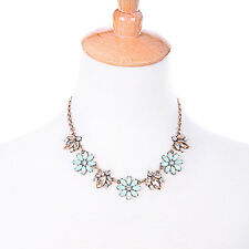 N3363 Fashion Champagne Crystal Serenity Blue Floral Bella Fiore Collar Necklace