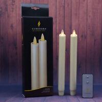 "Set of 2 8"" Luminara Real Wax Flameless Moving Wick Ivory Wedding Taper Candles"