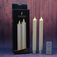"Set of 2 8"" Luminara Real Wax Flameless Moving Wick Ivory Wedding Taper Candles"