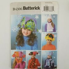 Butterick 4306 Childrens Fleece Accessories Pattern Hat Scarf Mittens S M L