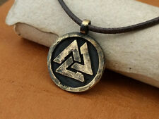 Viking Ancient Valknut Norse Valhalla Pagan Round Pendant Necklace Brass Jewelry