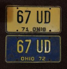 Matching Pair 1971, 1972  Ohio Vehicle License Plates - OH  - 67 UD, Vintage