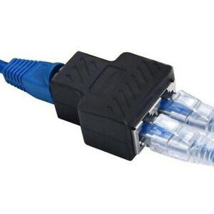 RJ45 Splitter Adapter LAN Ethernet 1 to 2 Way Dual Female Port Connector Plug UK
