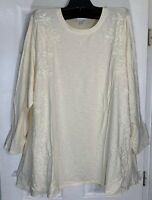 J Jill women Pima cotton plus size 1XL tunic embroidered/embellished ivory New