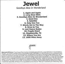 JEWEL Goodbye Alice In Wonderland UK 13-trk watermarked promo test CD