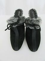 Anne Klein New York Suede Mules with Faux Fur Detail Size 7 1/2