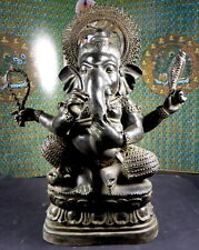 OLD VINTAGE LARGE GANESH GANESHA BRONZE STATUE. 15 inches tall.