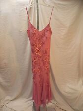 Sue Wong Pink Silk Beaded Sequin Gown Spaghetti Straps Size 10 INV#0902