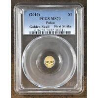 2016 Palau Gold Skull $1 PCGS MS70 *Rev Tye's* #0241